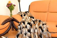 Fur Throws Comforters Faux Fur New Gold Black White Feather Soft Mink Backing US