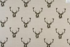 Fryetts Stags Charcoal 100% Cotton Designer Curtain Blind Upholstery Fabric