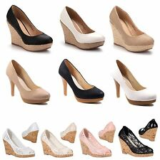 NEU DAMEN PUMPS PEEP TOES HIGH HEELS KEILABSATZ WEDGES SCHUHE 36 37 38 39 40 41