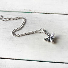 925 Sterling Silver Honey Bumble Bee Charm Necklace Pendant