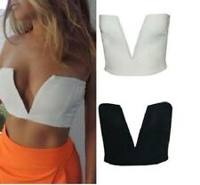 Women Deep V Plunge Low Cut Neck Bralet Sexy Crop Top
