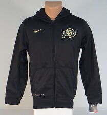 Nike ThermaFit Colorado CU Buffs Black Hooded Track Jacket Hoodie Youth Boys NWT