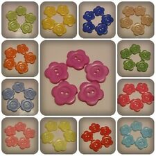 10 x 2-Hole Acrylic Buttons - 22mm - Flower [Various Colours Available]