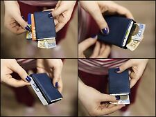 Minimalist Leather Wallet Handmade Thin Slim Compact Wallet RFID Blocking - NERO