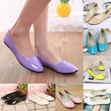 Ladies Summer Ballet Flat Casual Patent Leather Shoes Pumps Shoes Candy Colors