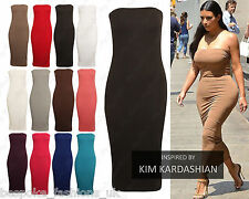 Ladies Women's Boobtube Bandeau Strapless Bodycon Stretchy Midi Dress Plus 8-22