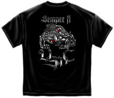 NEW US MILITARY USMC TEE | SEMPRI FI CHROME DOG MARINE CORPS T-SHIRT | BLACK
