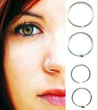 Sterling Silver Nose Ring Hoop 8mm 10mm Small Thin Piercing Stud| Body Jewellery