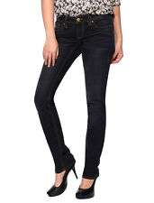 Womens Straight Leg Jeans Skinny Slim Fit Low Rise Denim Trousers Size 0-13