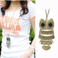 2015 Owl Pendant Free shipping Retro Vintage Bronze Necklace Long Chain Jewelry