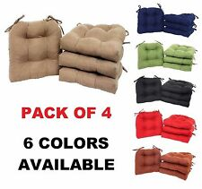 Microfiber Chair Pads SET OF 4 Seat Cushion Pillow Cover Top Sofa Dining Deck