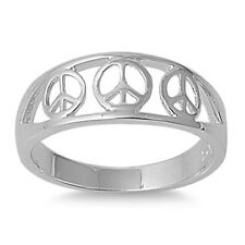 Peace Sign Ring, 925 Sterling Silver, Triple Style Unity, Thin Band, w Gift Box