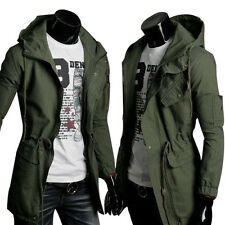 Mens Military Style Casual Hooded Coat Long Warm Jacket Overcoat Parka Outerwear