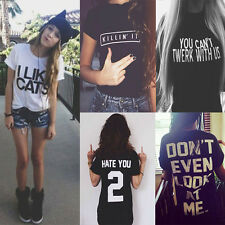 Fashion Womens Graphic Letter Printed Funny T-shirt Summer Tops Lovers Blouse