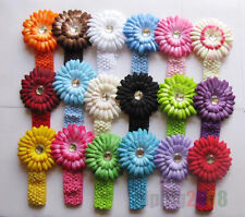 Wholesale Baby headwear Hairbows Crochet Headbands+Daisy flower with Diamond lot