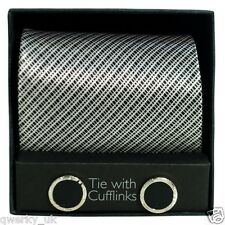 Tie & CuffLinks Gift Set for Men Designer Polyester New Multi Colour Fathers Day