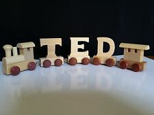 Personalised Wooden Alphabet Train Letters Name as Christmas/ Christening Gift