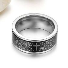Men Cross the Bible Characters Finger Ring 304 Titanium Steel Ornament Black