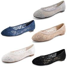 Womens Ladies Ballerina Ballet Dolly Pumps Flat Lace Diamante Bridal Shoes Size