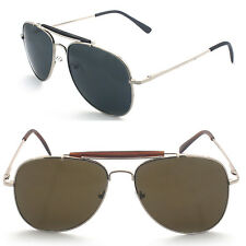 Men Women Outdoorsman Aviator Pilot Style Brow Bar Sunglasses with Spring Hinge