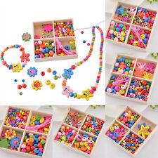 Wooden Beads Jewelry Necklace Bracelet Kids Creative DIY Crafts Educational Toys