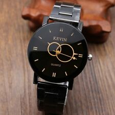 New KEVIN Circle Pointer Black Stainless Steel Round Dial Quartz Wrist Watch Men
