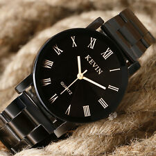 New KEVIN Roman Numeral Black Stainless Steel Band Round Dial Quartz Wrist Watch
