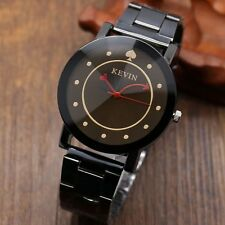 Casual Spades Love KEVIN Black Stainless Steel Round Dial Quartz Wrist Watch Men