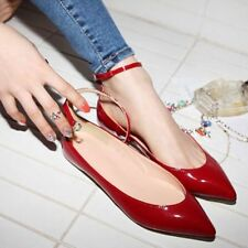 New Women's Patent Leather Flats Sexy Point Toe Ankle Strap Oxfords Casual Shoes