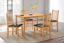 Natural Oak Effect Wooden Dining Table and 4 Chair Kitchen Dining Room Furniture