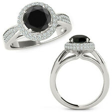 1.25 Carat Black Diamond Double Round Halo Anniversary Fancy Ring 14K White Gold