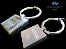 Personalised Photo Engraved Square Keyring STAINLESS STEEL Great Christmas Gift!