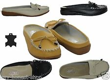 WOMENS LADIES MOCCASINS GENUINE LEATHER LOAFERS FLAT CASUAL  FLIP FLOPS SHOES
