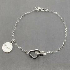 925 Solid Sterling Silver Interlinked Hearts Bracelet With Personalized Disc
