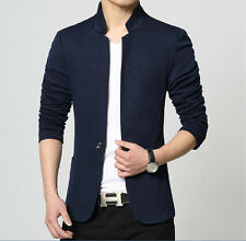 Mens one button slim pure cotton stand collar leisure casual suit Jackets coats