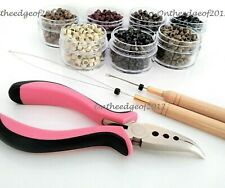 200 Silicone MICRO BEADS Feather Hair Extension TOOL KIT-Hair Pliers,HOOK & LOOP