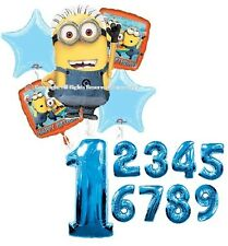 DESPICABLE ME MINIONS BIRTHDAY PARTY BALLOONS BOUQUET DECORATIONS NUMBERS