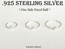 PAIR 22G 1/4'' 5/16' 3/8 Sterling Silver Captive Bead Ring Fixed Ball Nose Hoop