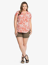 Torrid Top Plus Size 1 3 4 Red Floral V Neck Blouse Top Shirt Tee BRAND NEW