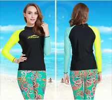 New Women Rash guard Long Sleeve Sun Shirts Uv Surf Swim Top Lycra Swimwear