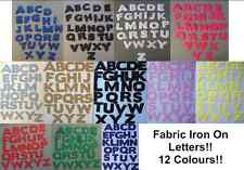 """IRON  ON die cut Fabric LETTERS! Approx size 1 & 1/2""""! in Eleven Colours!"""
