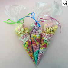 Party Bags Clear cone bags cello cellophane sweet candy display sweet kids large
