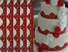 6 X EDIBLE SUGAR LACES FOR CAKES - WEDDING BIRTHDAY ANNIVERSARY