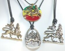 Rasta Lion / Lion of Judah Pendant on a Surfer Waxed Cotton Cord Adjustable