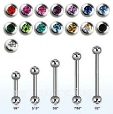 "2pcs 16g,14g~1/4""- 1/2"" Steel Double Gems Barbell Eyebrow Tragus Helix Cartilage"