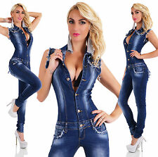 Sexy New Women's Denim Jeans Navy Playsuit Jumpsuit  Overall Skinny Slim M 135