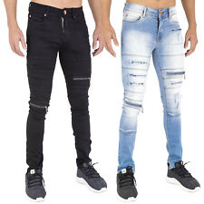 MENS ZIP & RIP SUPER SKINNY STRETCH PUNK RETRO DENIM JEANS 28 30 32 34 36 38 40