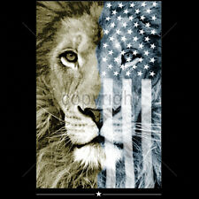 American Flag Lion USA King Of The Jungle Patriotic Animal T-Shirt Tee