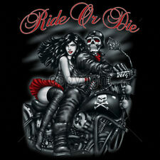 Ride Or Die Skeleton & Girl Motorcycle Biker Choppers Skull T-Shirt Tee