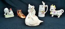 lot of Home decor Ceramic Porcelain  figurines Dog Cat Cow Swan Shoe animal cup